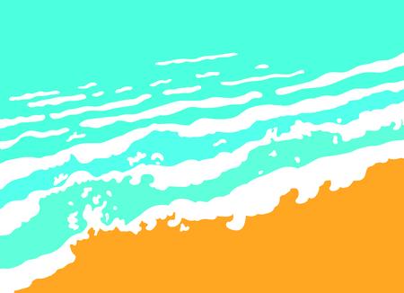 sand beach: Blue sea wave and sand beach, vector illustration Illustration