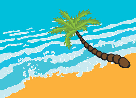 paradisiacal: Tropical palm on the beach with sea. Vector illustration