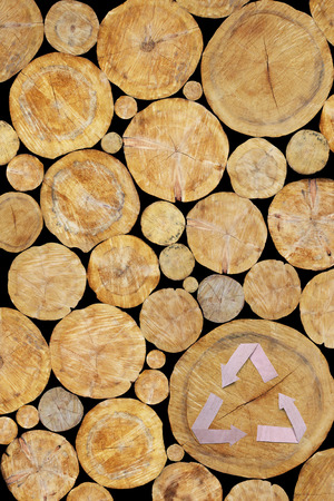 Stacked Logs, natural wood background with paper recycle symbol photo