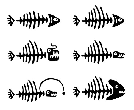 illustration of black fishbone: Set of black fish bones, vector illustration Illustration