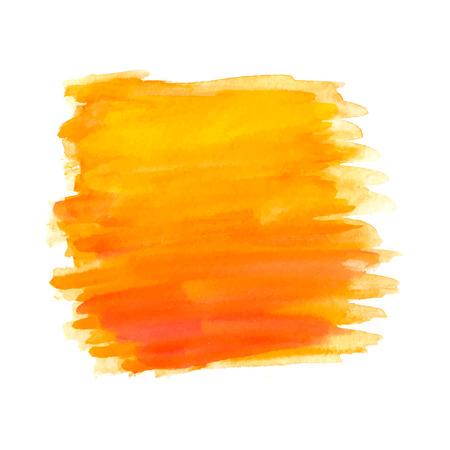 Abstracte penseelstreken, oranje aquarel achtergrond, vector
