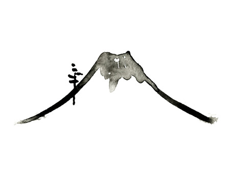 Mountain Fuji, volcano, japanese art, vector illustration