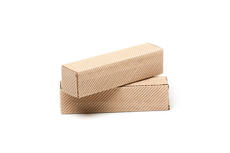 ship with gift: Two Closed Cardboard Boxes, isolated on a White background