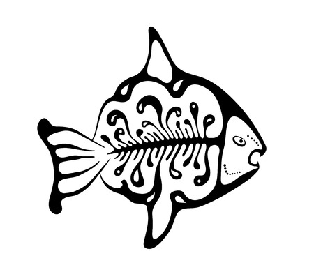 black fish: black fish in the native style, vector illustration