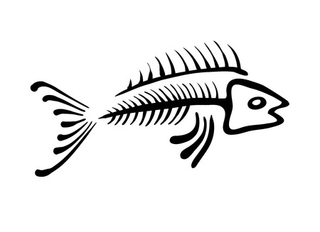 illustration of black fishbone: black fish bone, vector illustration, ethno style