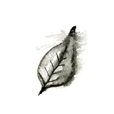 black ink: black ink leaf, vector illustration