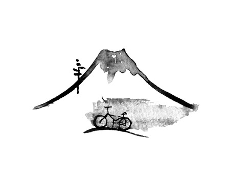 Mountain Fuji and bike, volcano, japanese art illustration