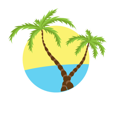 paradisiacal: Two tropical palms on island with sea. Vector logo. Illustration