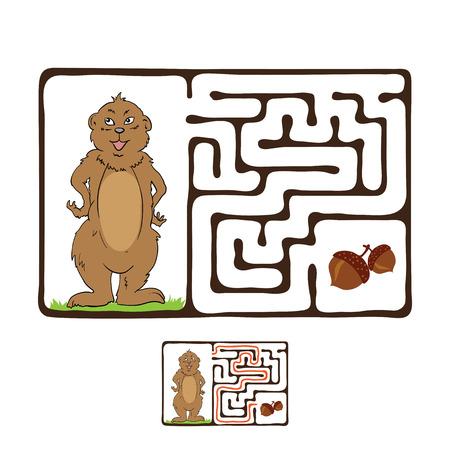 laberinto: Vector laberinto, laberinto juego educativo para ni�os con Marmot y Nut.