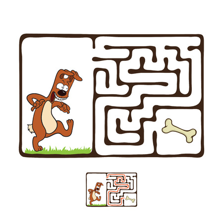 Vector Maze, Labyrinth education Game for Children with Dog and Bone. Illustration