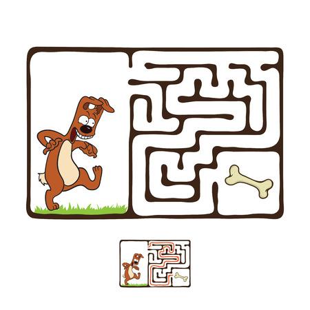 niños pensando: Vector laberinto, laberinto juego educativo para niños con perro y el hueso. Vectores