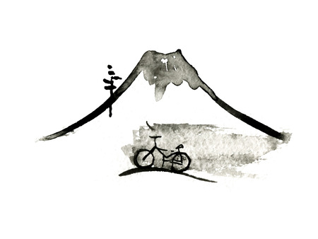 Mountain Fuji and bike, volcano, japanese art vector illustration Ilustrace