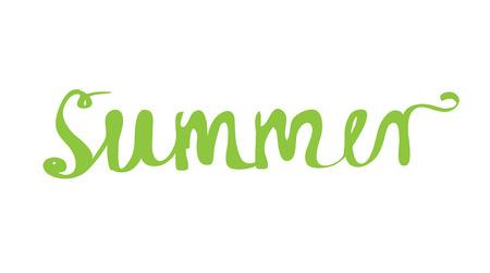 handwritten: Hand-written word SUMMER, lettering. Vector illustration Illustration