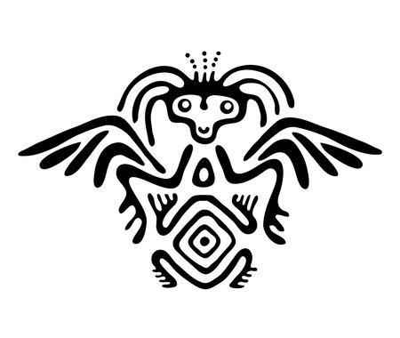 nonexistent: black alien in native style, vector illustration