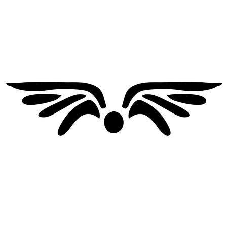 wings tattoo: black wings tattoo, vector illustration