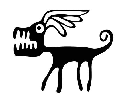 brute: black vector dog in native style, isolated on white background