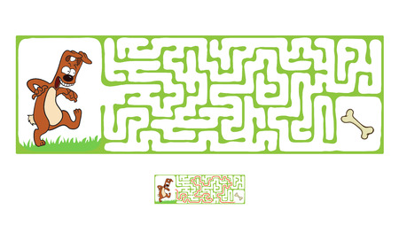 Vector Maze, Labyrinth education Game for Children with Dog and Bone. Ilustracja