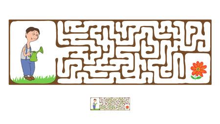 the maze: Vector laberinto, laberinto juego educativo para ni�os con jardinero y planta. Vectores