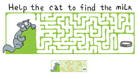 maze: Vector Maze, Labyrinth education Game for Children with Cat. Illustration