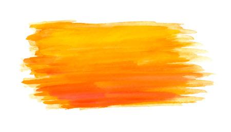 추상 브러쉬 선, 오렌지 수채화 배경, 벡터