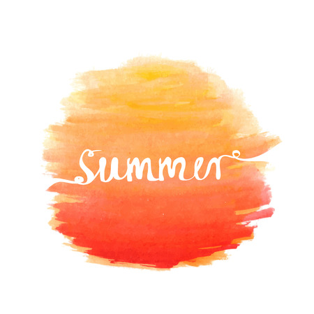 Hand-written word SUMMER over watercolor sun, lettering logo. Vector illustration