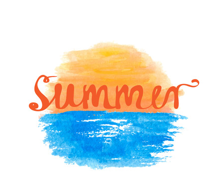 Sunrise over the water and hand-written word SUMMER, lettering, vector illustration Illustration