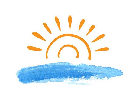 tourism logo: Sunrise over the water, vector logo illustration