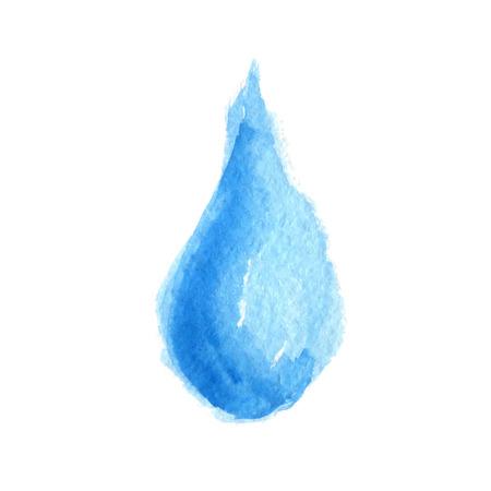 rainwater: Watercolor blue water drop . Vector illustration Illustration