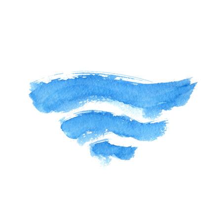 Vector illustratie van abstracte blauwe golven op wit Stock Illustratie
