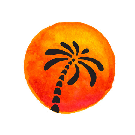 oasis at sunrise: Silhouette of palm trees against the sun. Vector logo illustration.