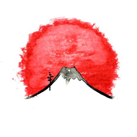 Berg Fuji, Japanse kunst aquarel vector illustratie Stock Illustratie