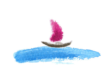 Sailing boat on the water, watercolor vector illustration