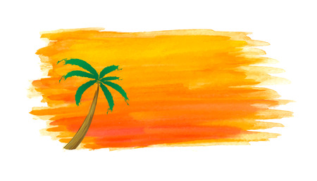 palm of hand: palm trees against the sun. Vector watercolor illustration.