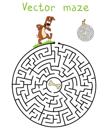 pathfinder: Vector Maze, Labyrinth education Game for Children with Dog and Bone. Illustration