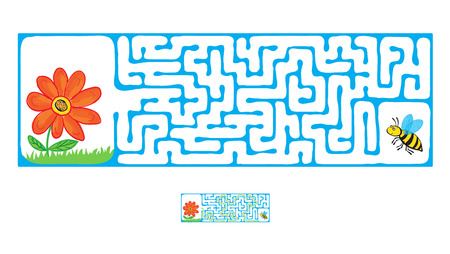maze: Vector Maze, Labyrinth education Game for Children with Flying Bee and flower. Illustration