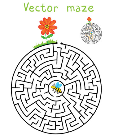 maze puzzle: Vector Maze, Labyrinth education Game for Children with Flying Bee and flower. Illustration