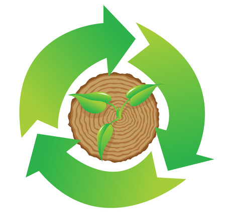 recycle symbol vector: Tree stump and green plant shoot  with recycle symbol, vector illustration