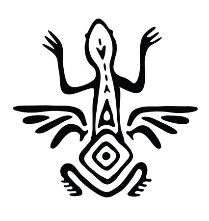 winged: winged lizard, animal in native style, vector illustration