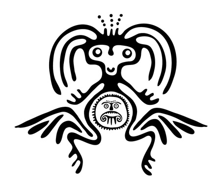 nonexistent: winged black alien in native style, vector illustration