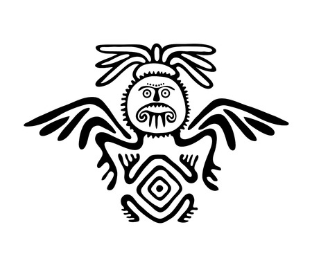 winged: winged black alien in native style, vector illustration