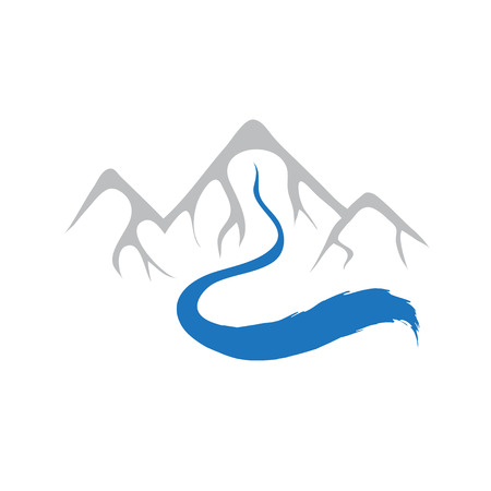 Mountain and river, vector icon illustration Illustration