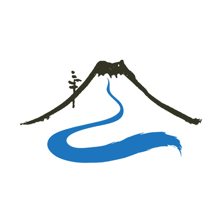 river vector: Mountain and river, vector icon  illustration