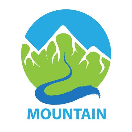 Mountain and river, vector icon illustration Stock Illustratie