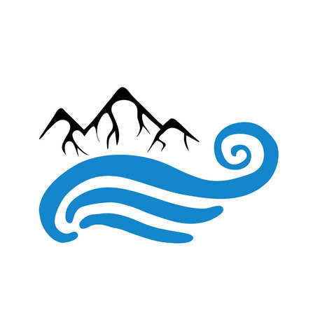 river vector: Mountain and sea or river, vector icon illustration