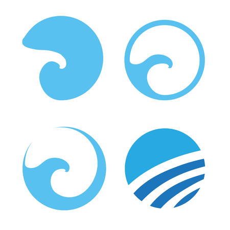 Set of Water wave icon , vector illustration Ilustrace