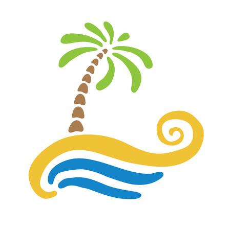 bright sun: Tropical palm on island with sea. Vector icon illustration. Illustration