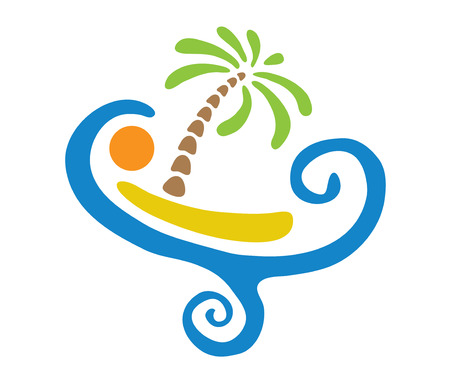 paradisiacal: Tropical palm on island with sea. Vector icon illustration. Illustration