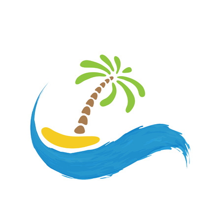 paradisiacal: Tropical palm on island with sea. Vector  illustration. Illustration