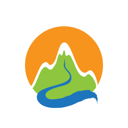 Mountain and river, vector  illustration  イラスト・ベクター素材