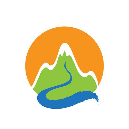 Mountain and river, vector  illustration Vettoriali
